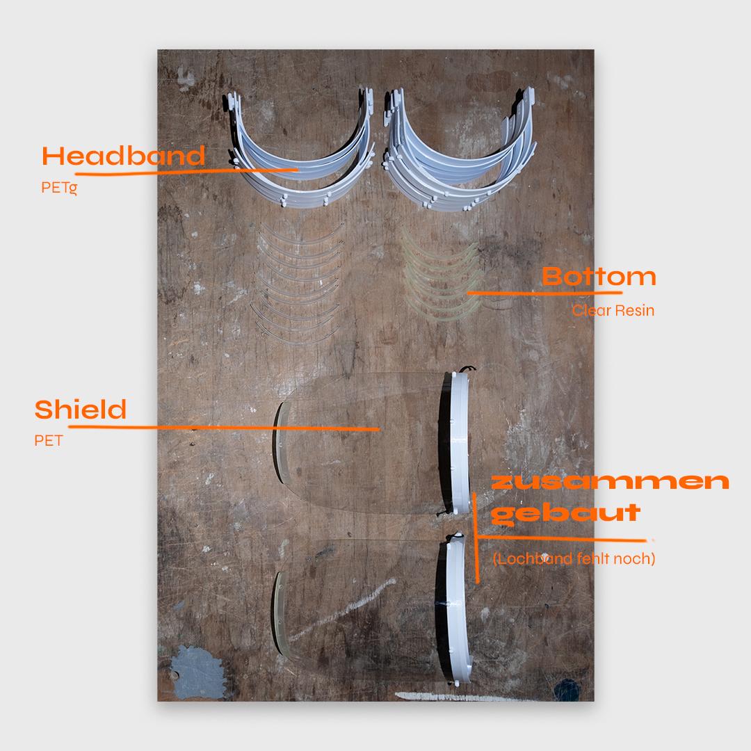 Einzelne Bestandteile des Faceshields
