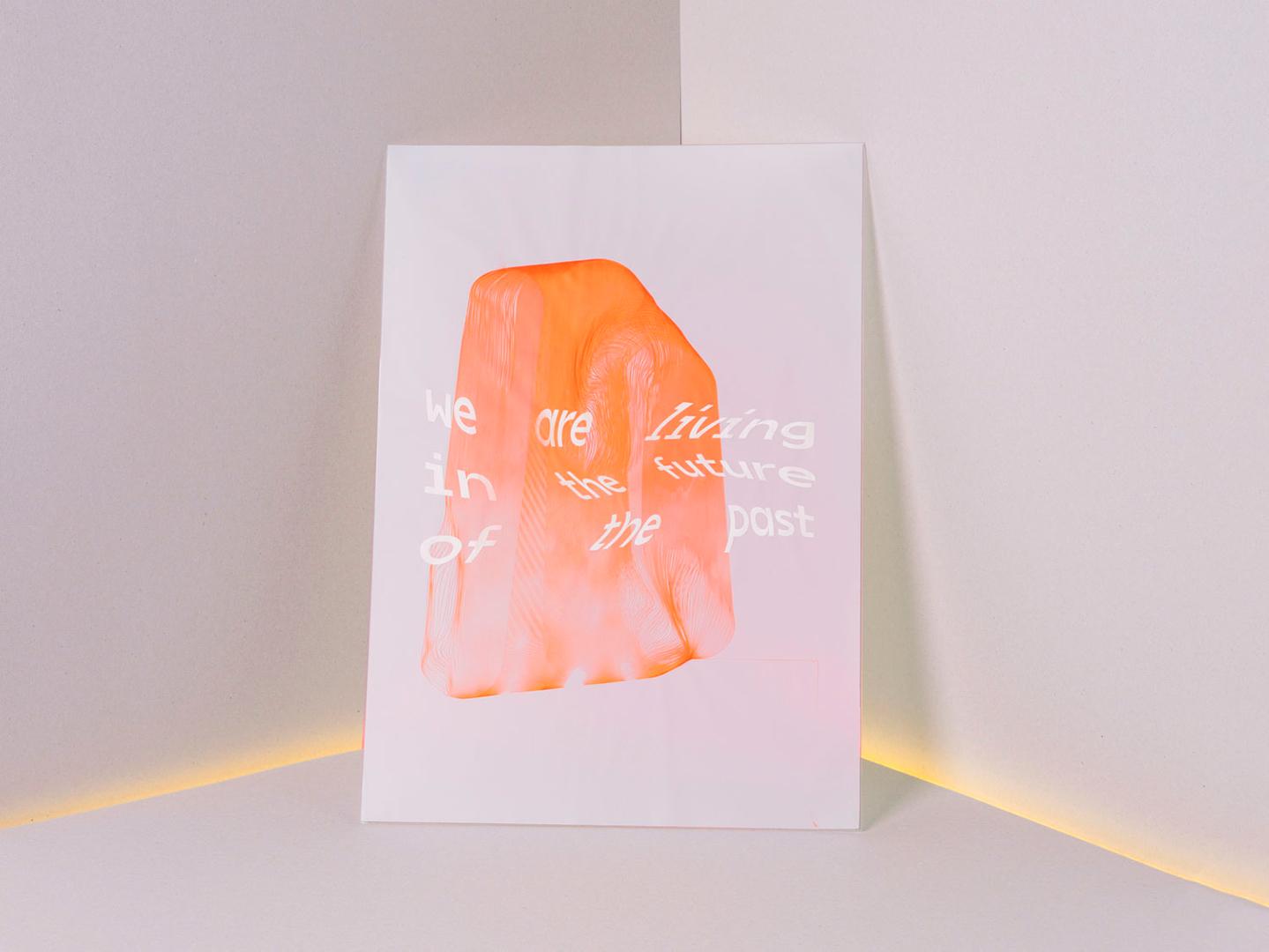 Plakat. Kombination aus Laser-Rasterung und Stift