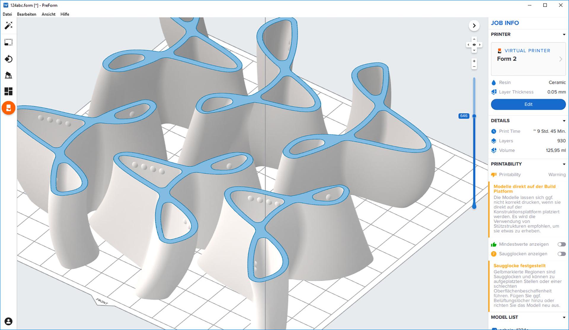Ansicht des PreForm - Druckertreibers der Formlabs Drucker mit den Trischnaps-Formen