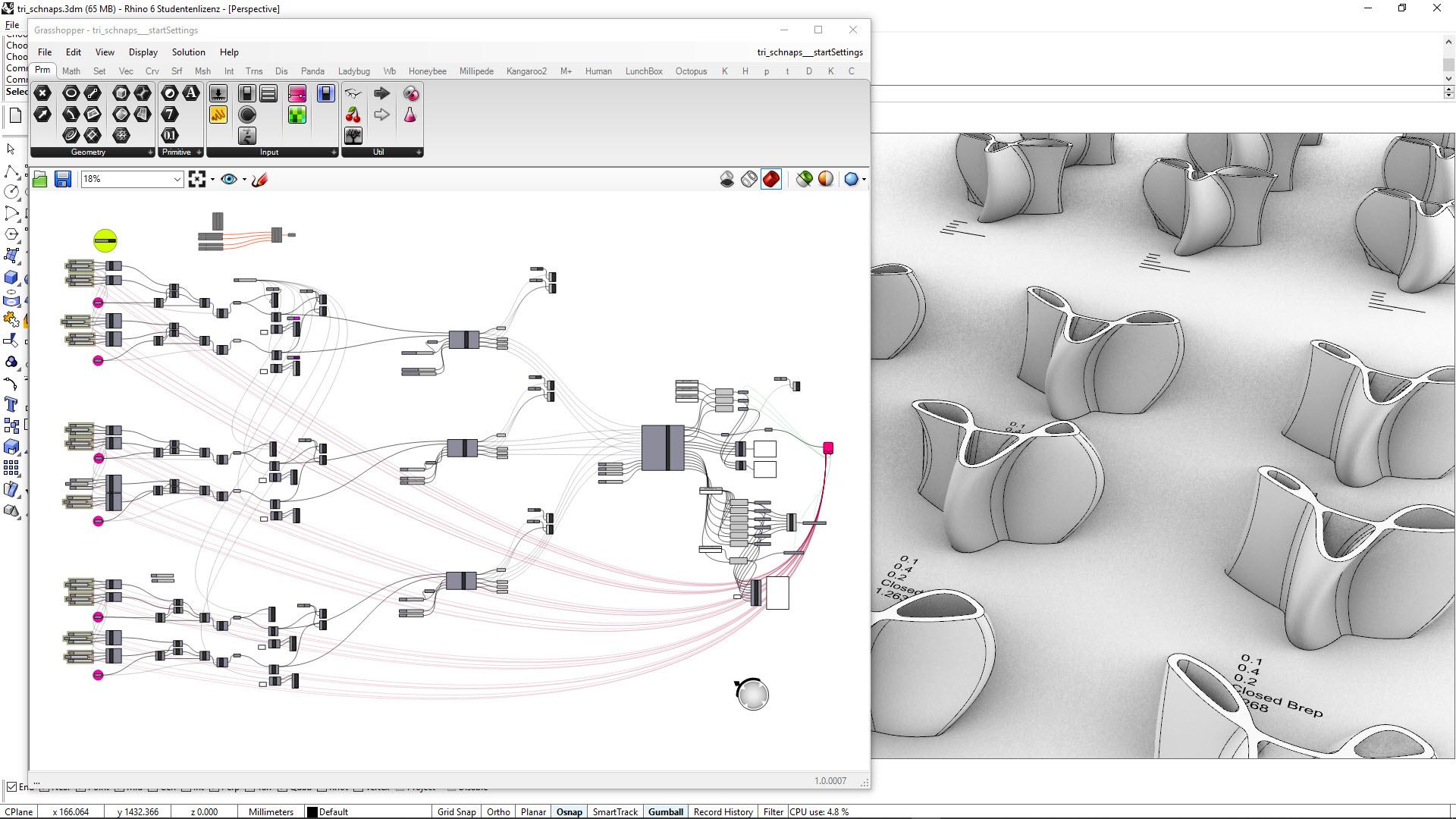 Trischnaps - Parametrisches Modell zur automatischen Formerzeugung. Software Interfaces von Rhino + Grasshopper
